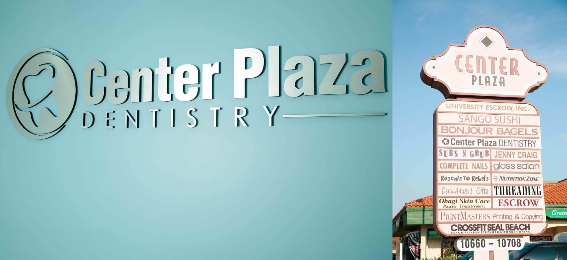 centerplaza dentistry logo and sign